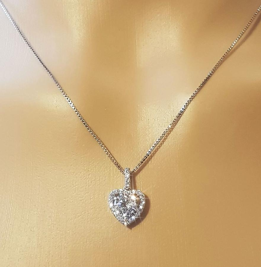 Rhodium Plated Cubic Zirconia Heart Cluster Pendant