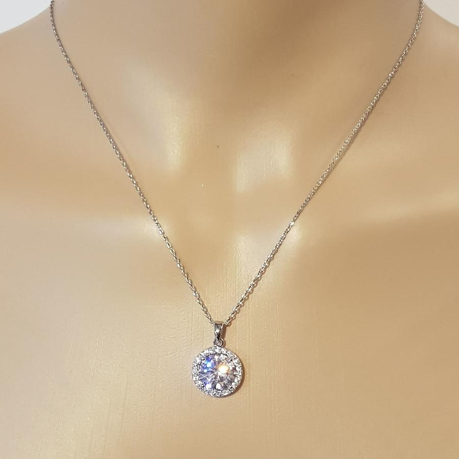 Rhodium Plated Round Crystal Cluster Pendant