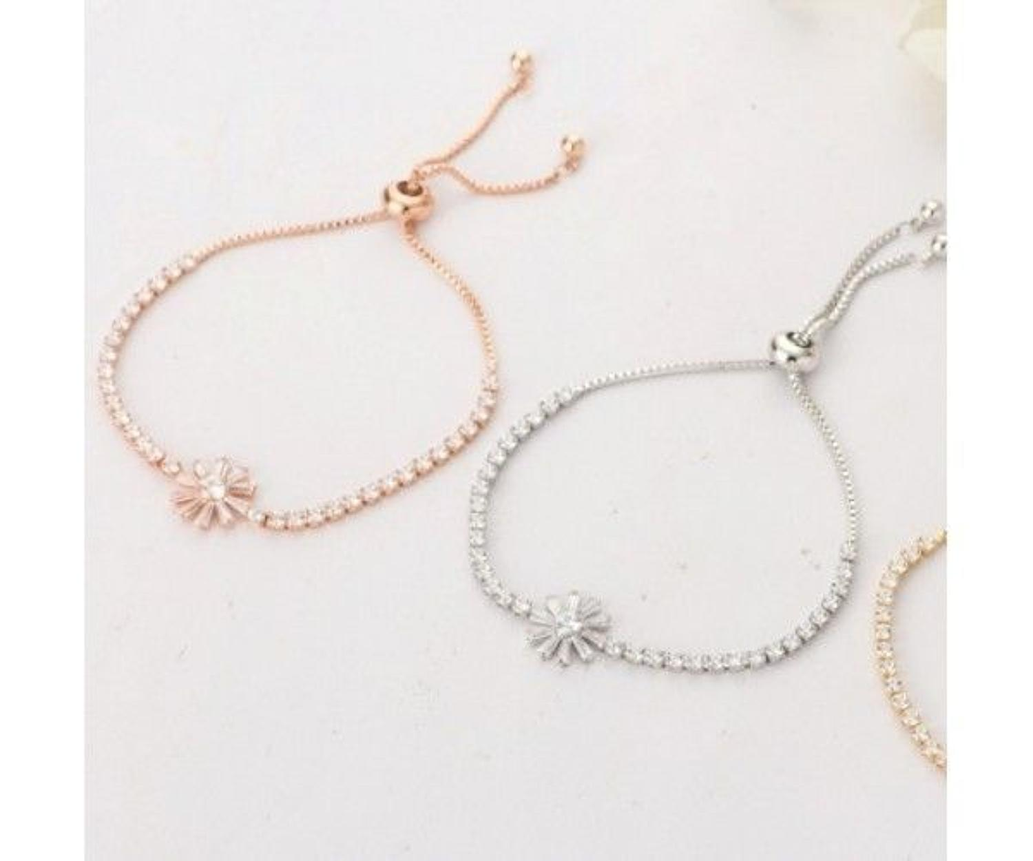 Snowflake Rose Gold Plated Adjustable Toggle Bracelet