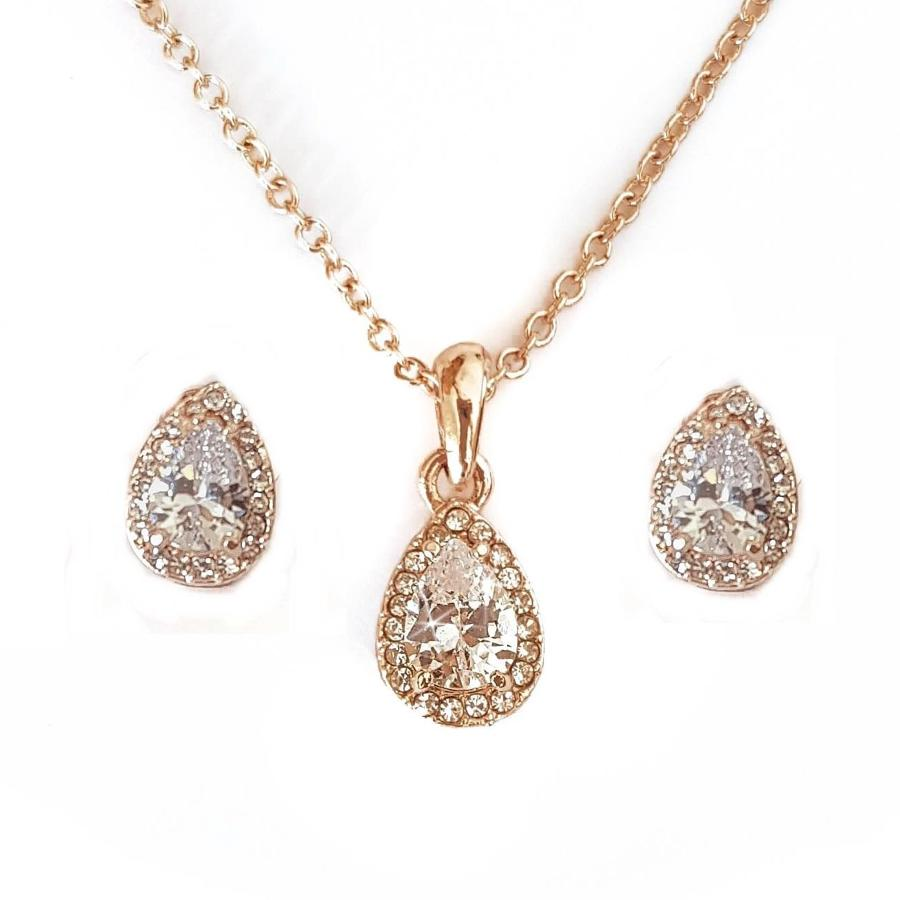 Rose Gold Plated Teardrop Cluster Pendant & Earring Set