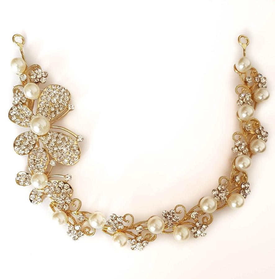 Gold & Crystal Butterfly & Pearl Hair Vine