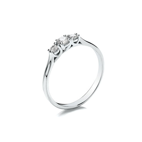 0.25ct Trilogy Ring, Crossover Claw Set, with Graduated Stones