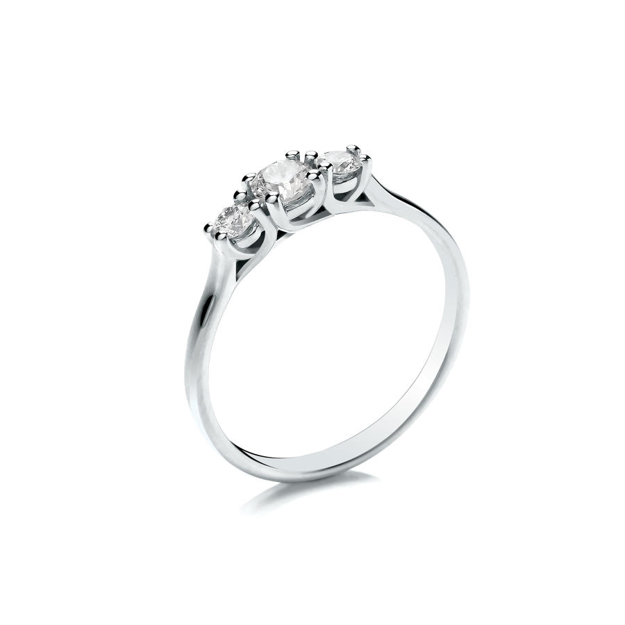 0.33ct Trilogy Ring, Crossover Claw Set, with Graduated Stones