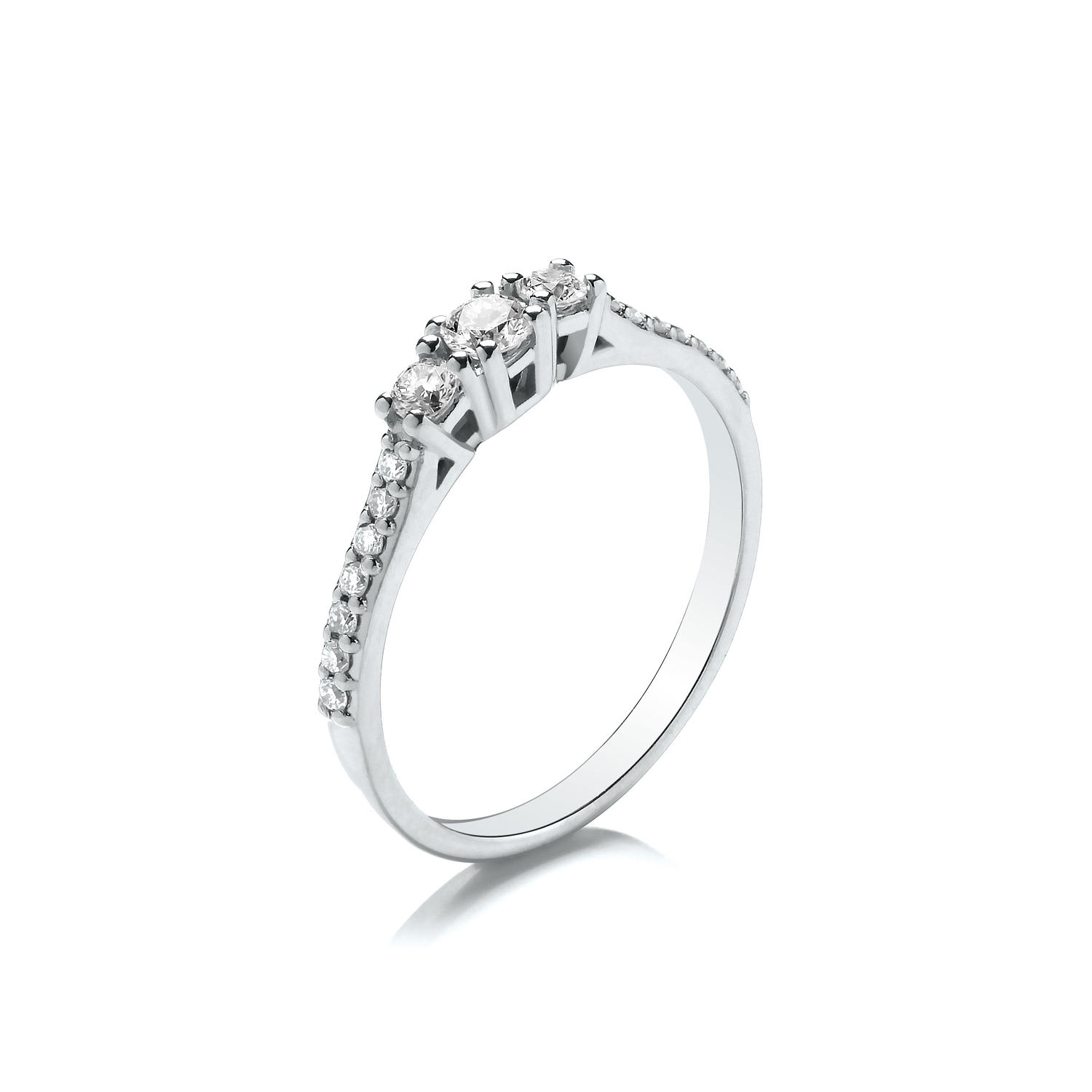0.33ct Trilogy Ring, With Graduated Stones and Set Shoulders