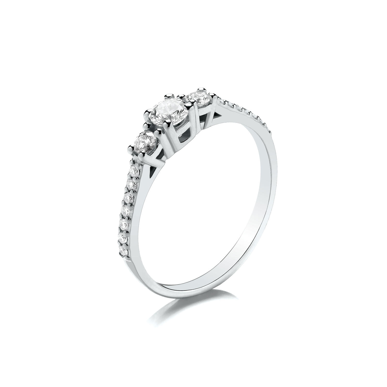 0.40ct Trilogy Ring, With Graduated Stones and Set Shoulders
