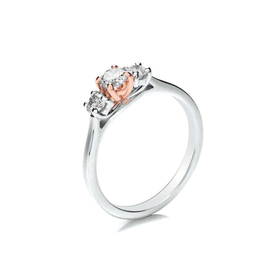 0.45ct Trilogy Ring With Graduated Stones and Rose Gold Centre