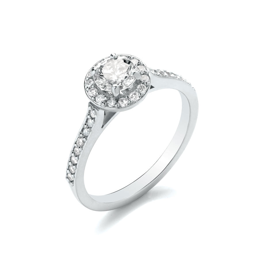 0.80ct Cluster Ring With Set Shoulders and Basket
