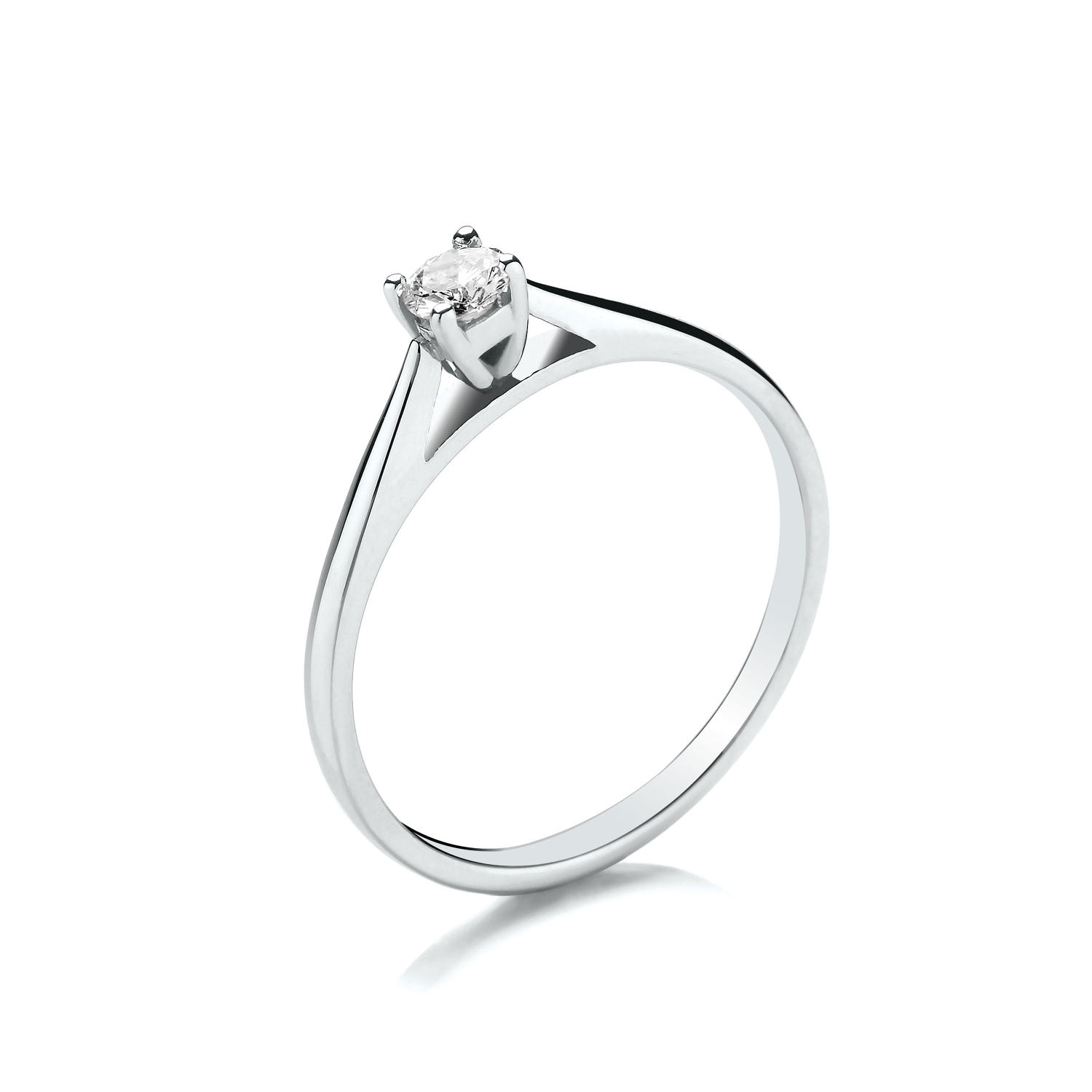 0.15ct Cupped Claw Set Solitaire Diamond Ring
