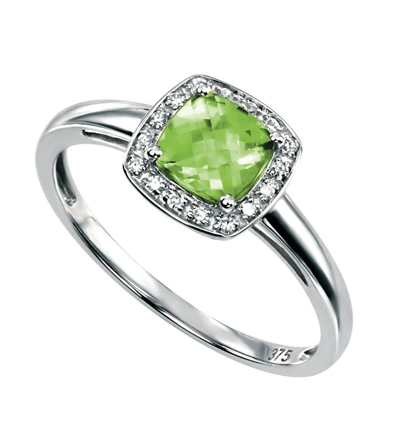 Peridot/Diamond Cushion Cluster Ring
