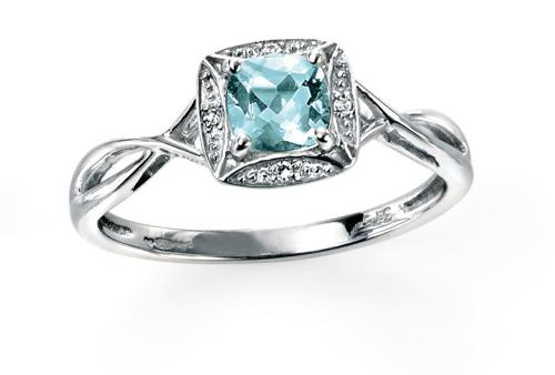 Aquamarine/Diamond Twist Style Ring