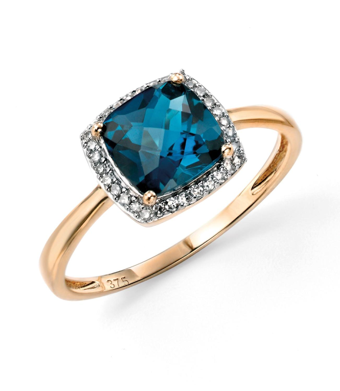 Blue Topaz/Diamond Ring
