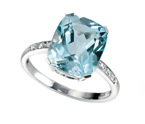 Sky Blue Topaz/Diamond Ring