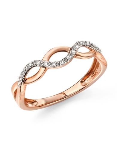 Diamond Set, Open Twist Ring