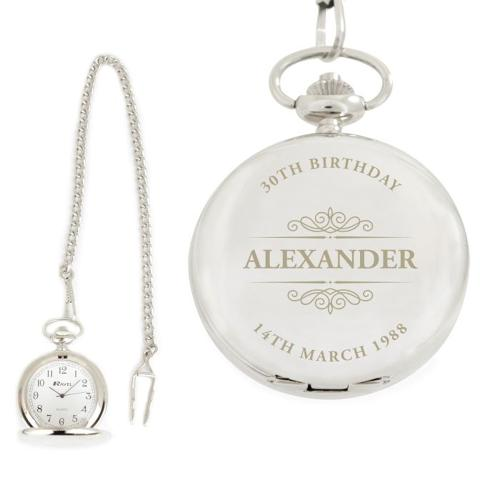 Chrome Plated Personalised Pocket Watch