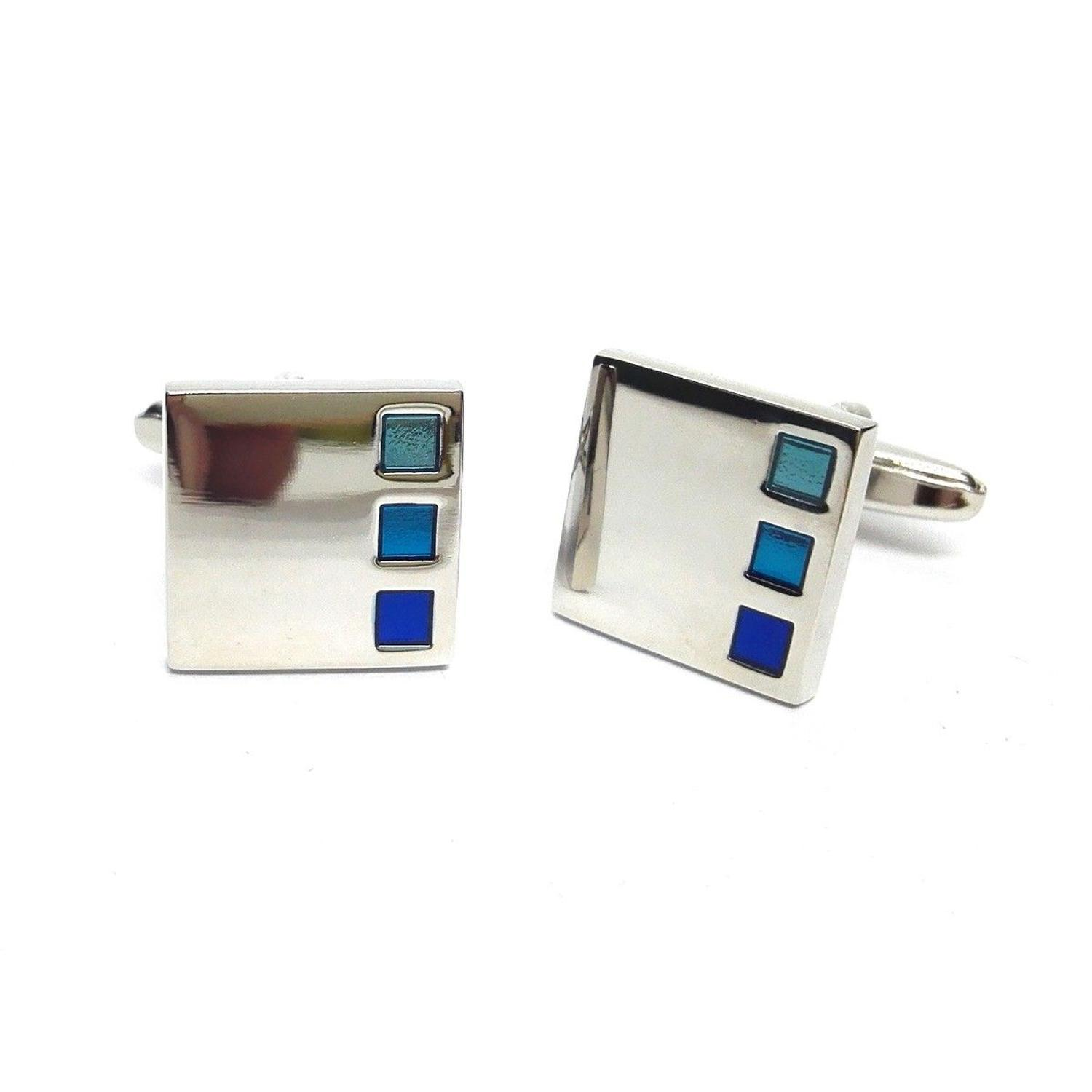 3 Blue Square Detail Cufflinks