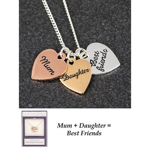 Mum, Daughter, Best Friends Triple Heart Necklace