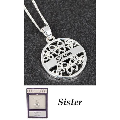 Silver Plated Filigree 'Sister' Necklace