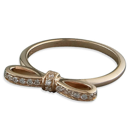 Sterling Silver & Rose Gold Plated Cz Bow Ring