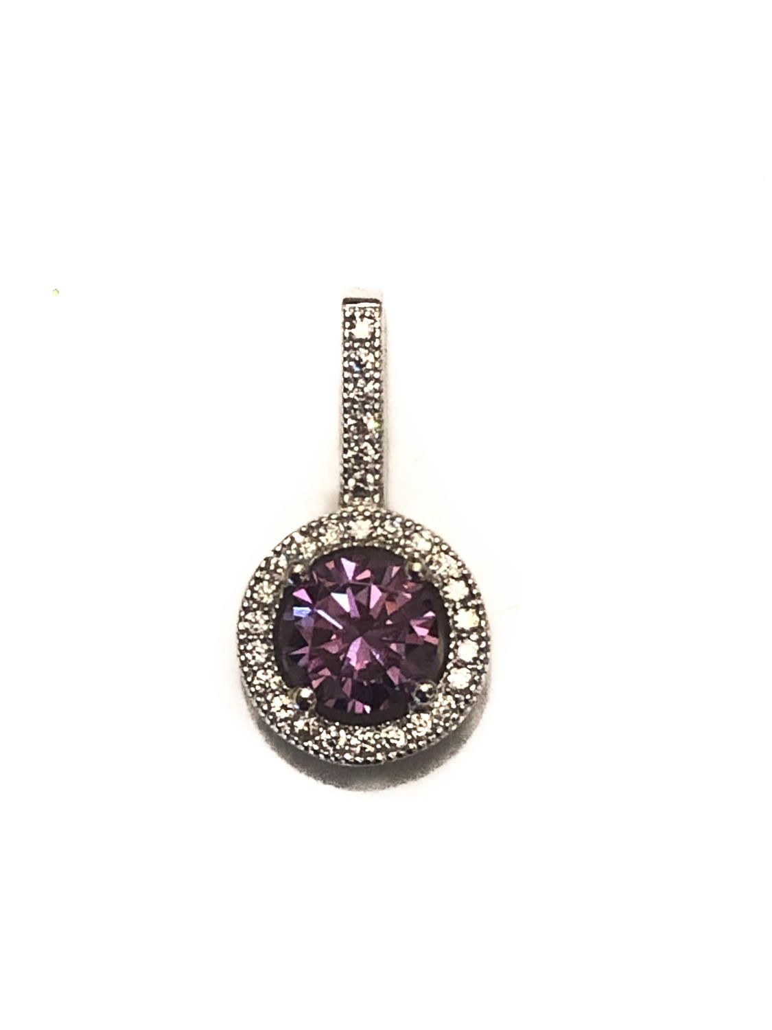 Sterling Silver Purple & White Cubic Zirconia Cluster Pendant