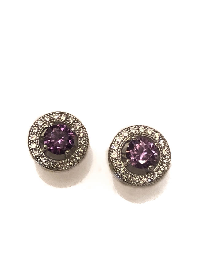Sterling Silver Purple & White Cubic Zirconia Cluster Stud Earrings