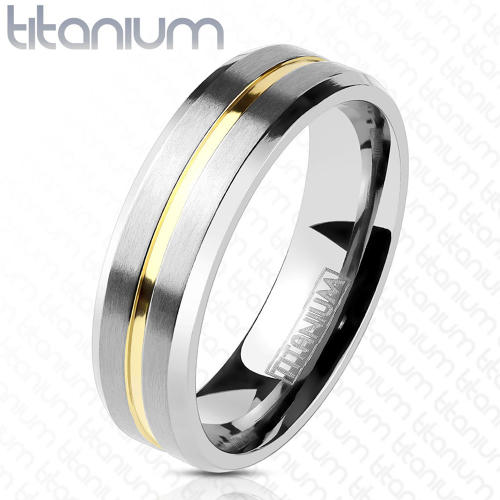 Titanium 6mm Band Ring With Gold IP Grooved Centre Line