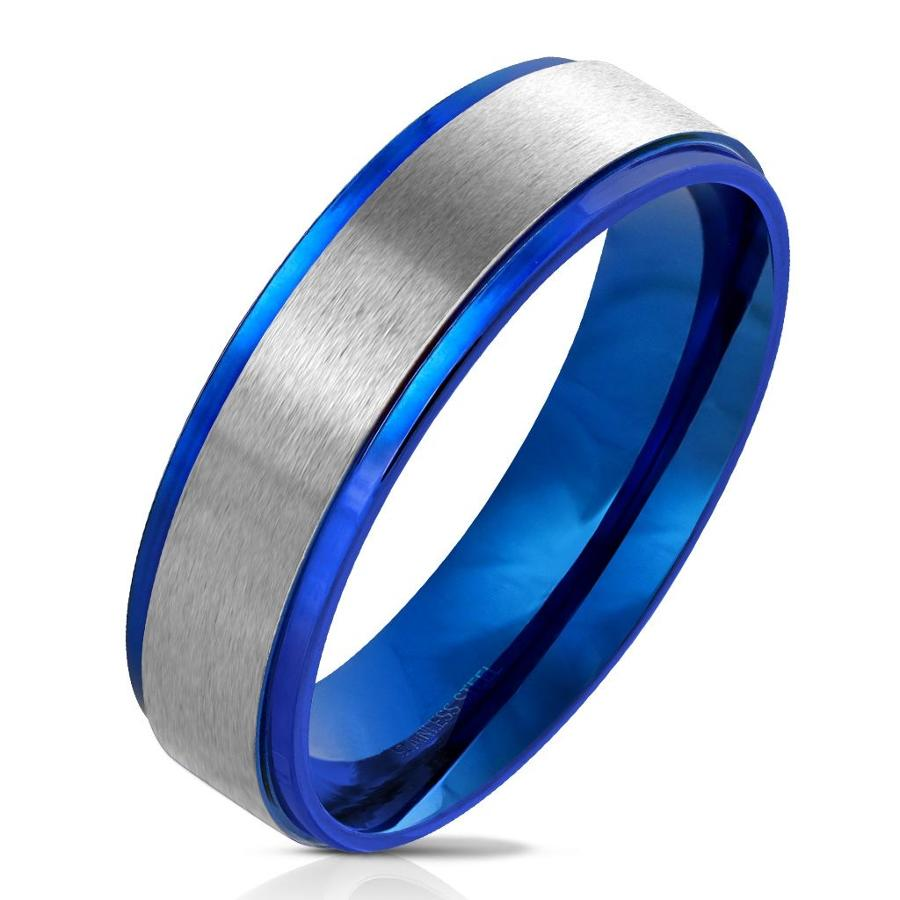 Blue IP Edge with Brushed Stainless Steel Centre Band Ring
