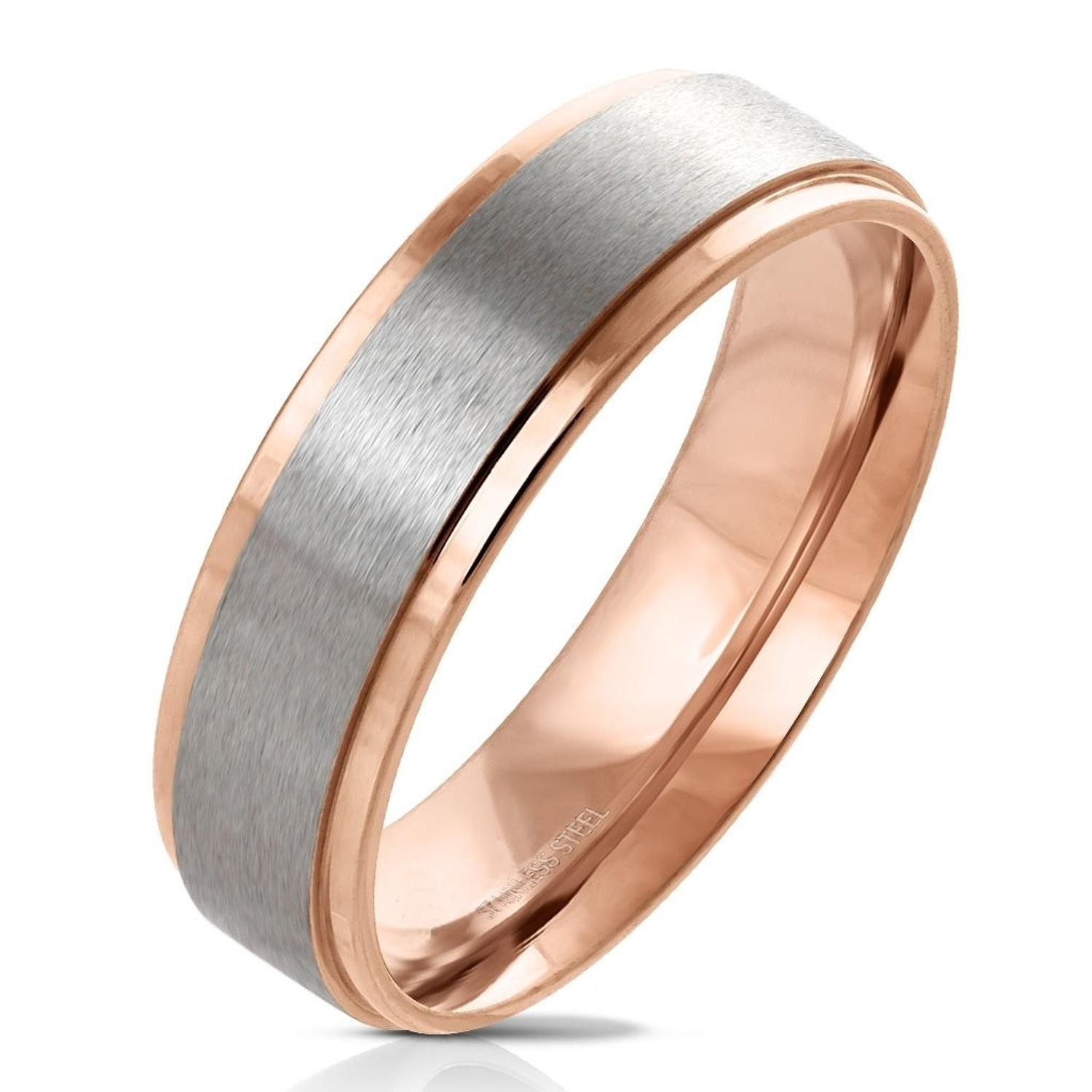 Rose Gold IP Edge with Brushed Stainless Steel Centre Band Ring