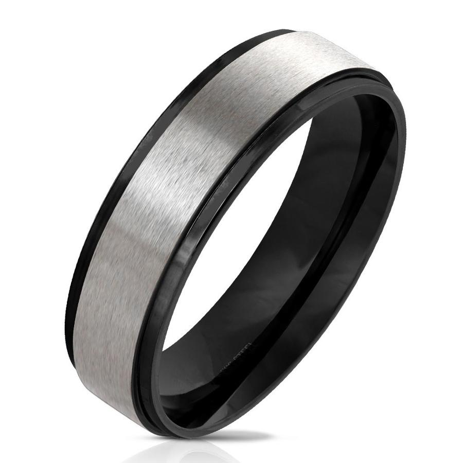Black IP Edge with Brushed Stainless Steel Centre Band Ring
