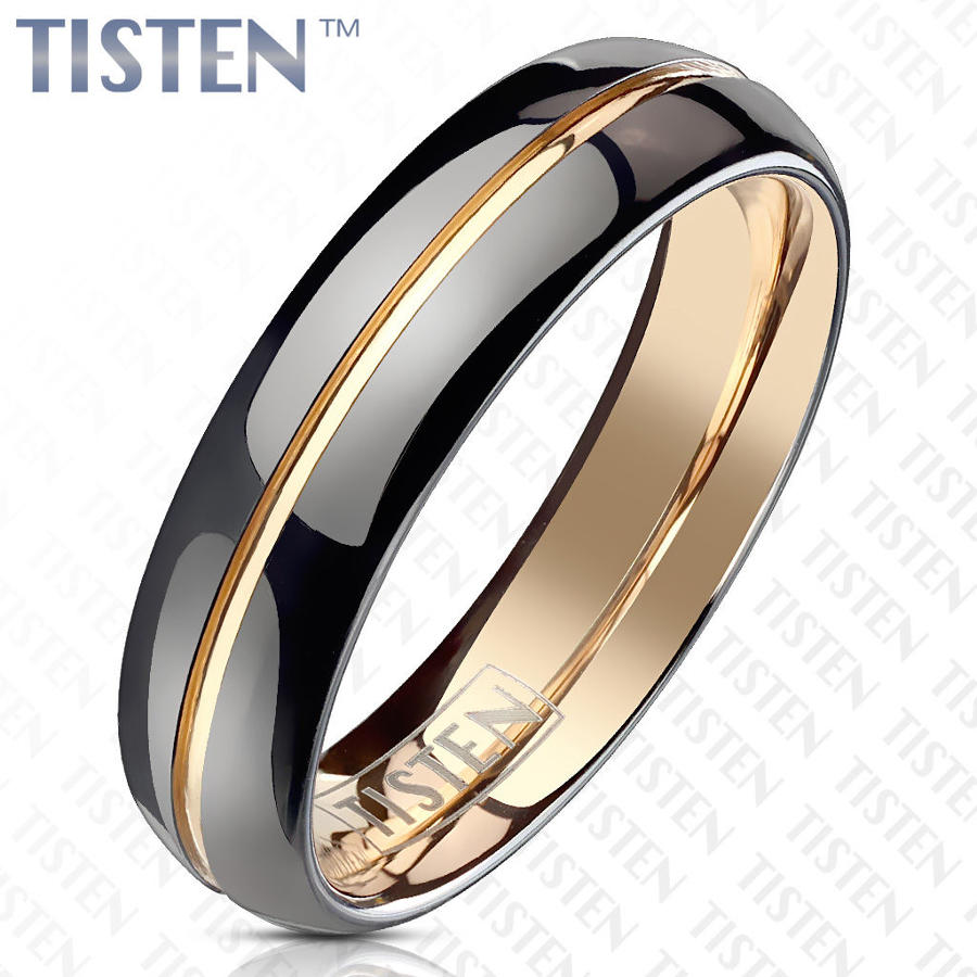 Black PVD with Rose Gold PVD Groove Centre 6mm Tisten Band Ring
