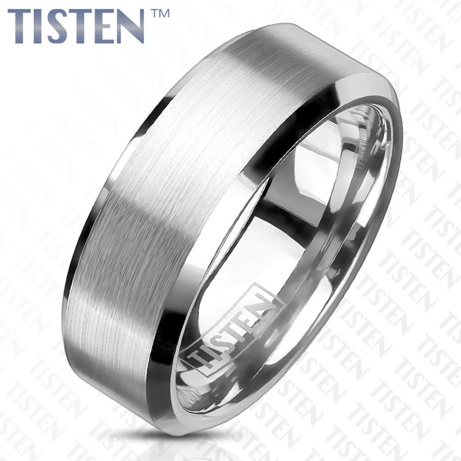 Tisten Matt Centre 8mm Wide Polished Bevelled Edge Ring