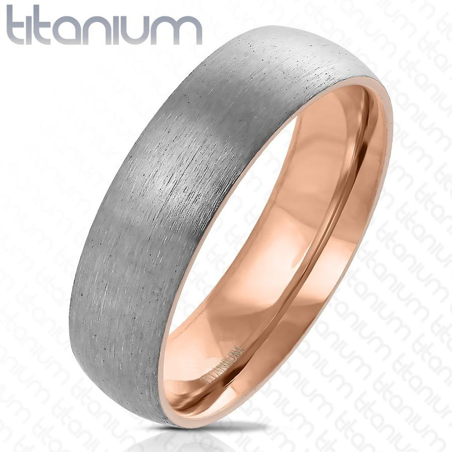 Titanium 6mm Matt Court Ring With Rose Gold PVD Inside