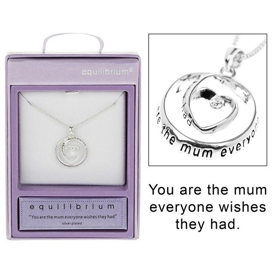 Silver Plated Mum Heart Circle Necklace