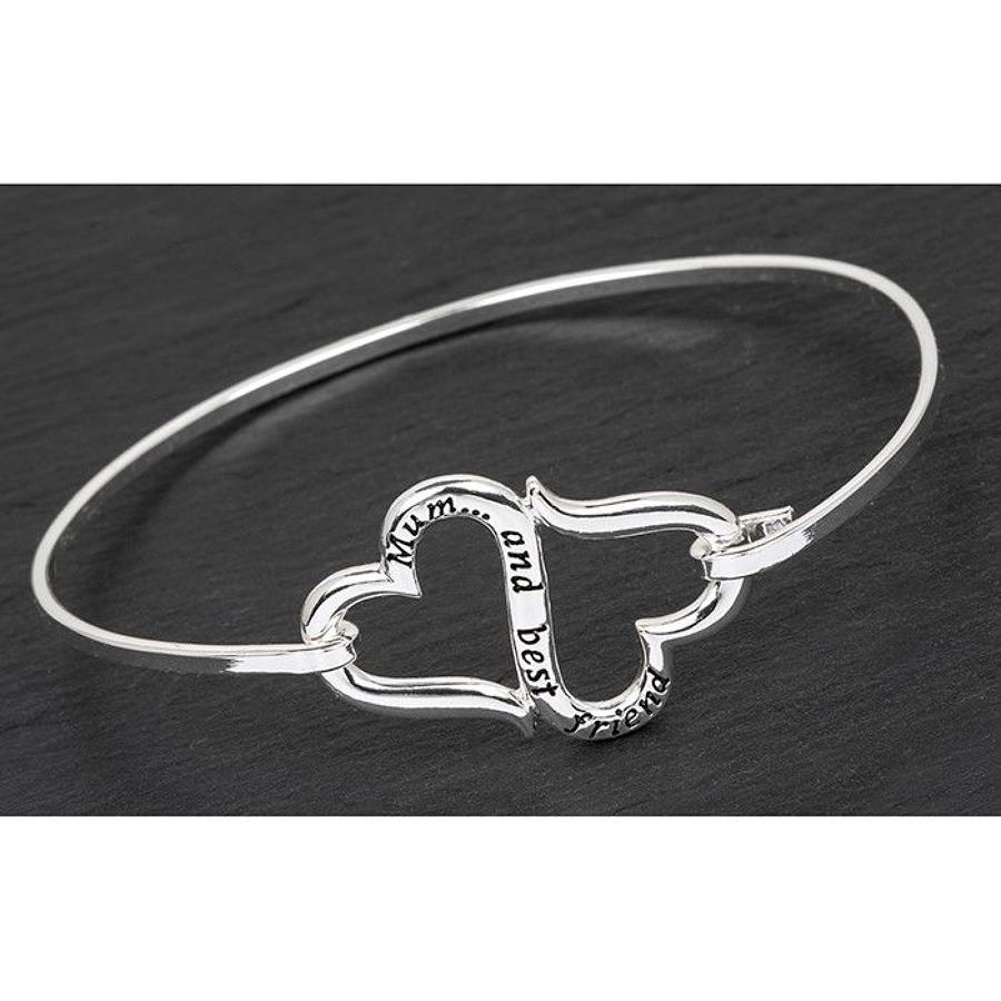 Silver Plated Mum And Best Friend Eternal Hearts Bangle