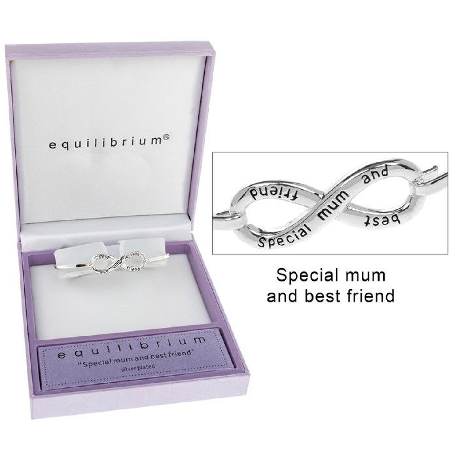 Silver Plated Special Mum And Best Friend Infinity Bangle