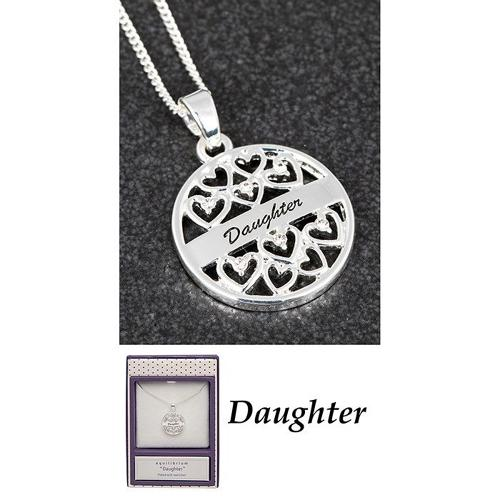 Silver Plated Daughter Sentiment Pendant