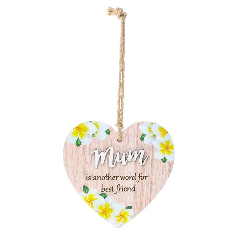 Wooden Heart Mum Plaque