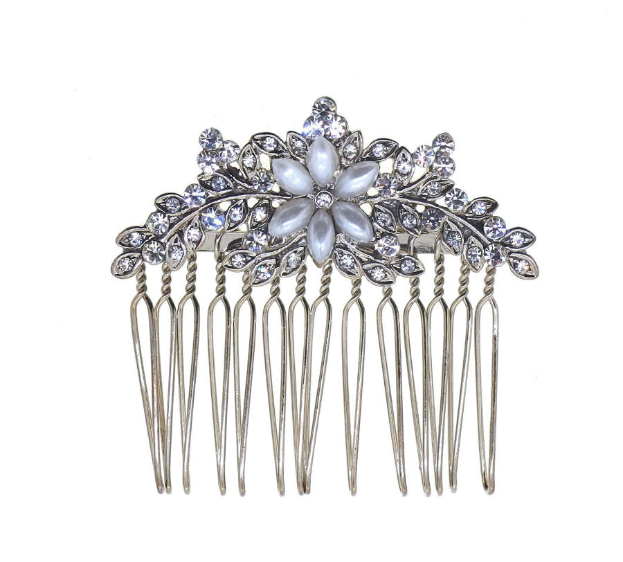 Small Crystal & Pearl Flower Hair Comb