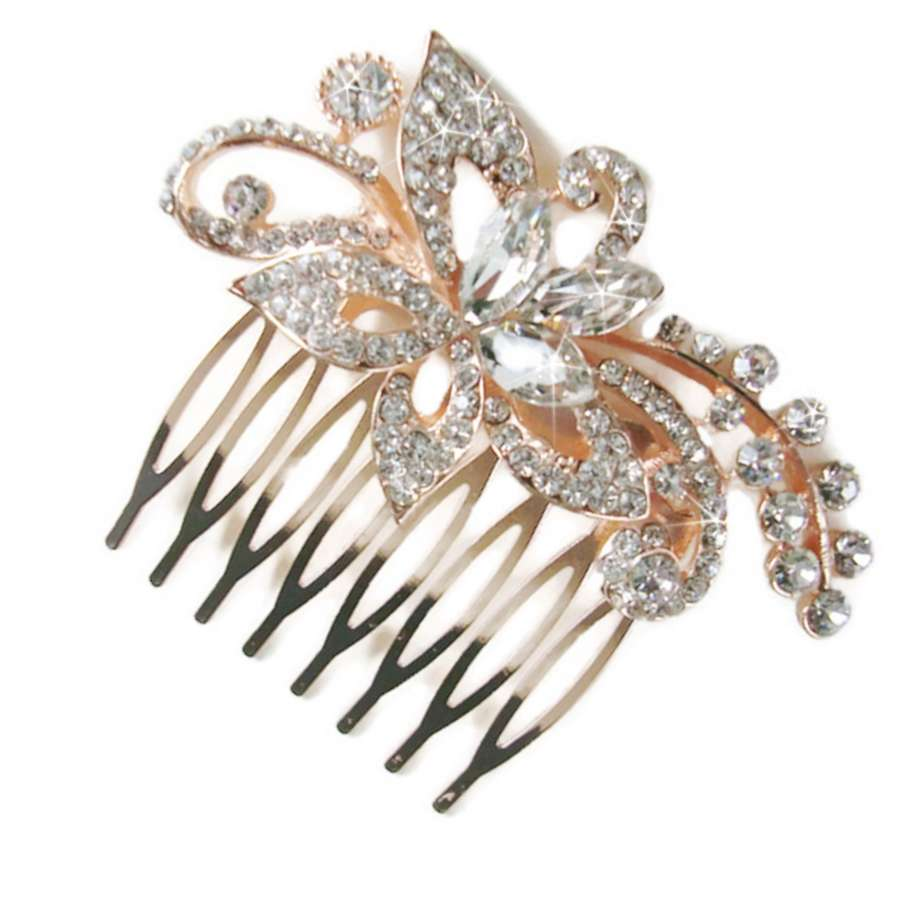 LEAH rose gold plated crystal flower hair comb