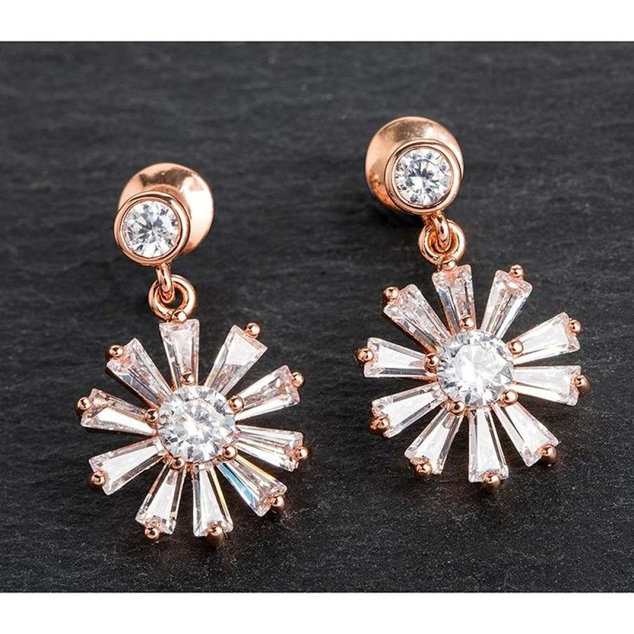 Snowflake Rose Gold Plated Cz Drop Earrings
