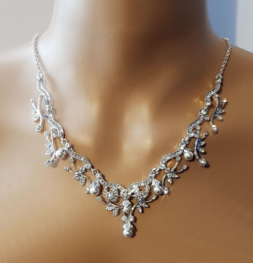 Pearl & Crystal Necklace & Earring Set