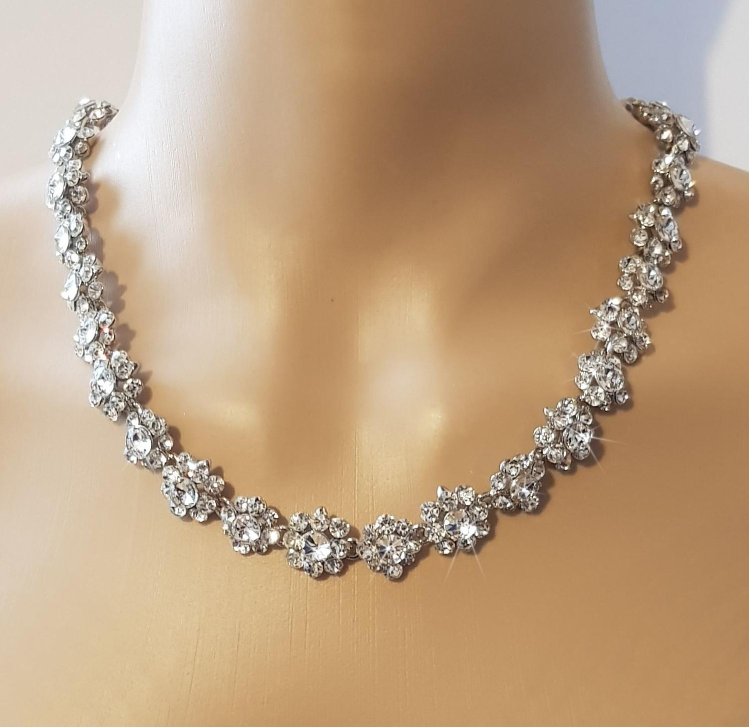 Flower Crystal Necklace & Earrings Set