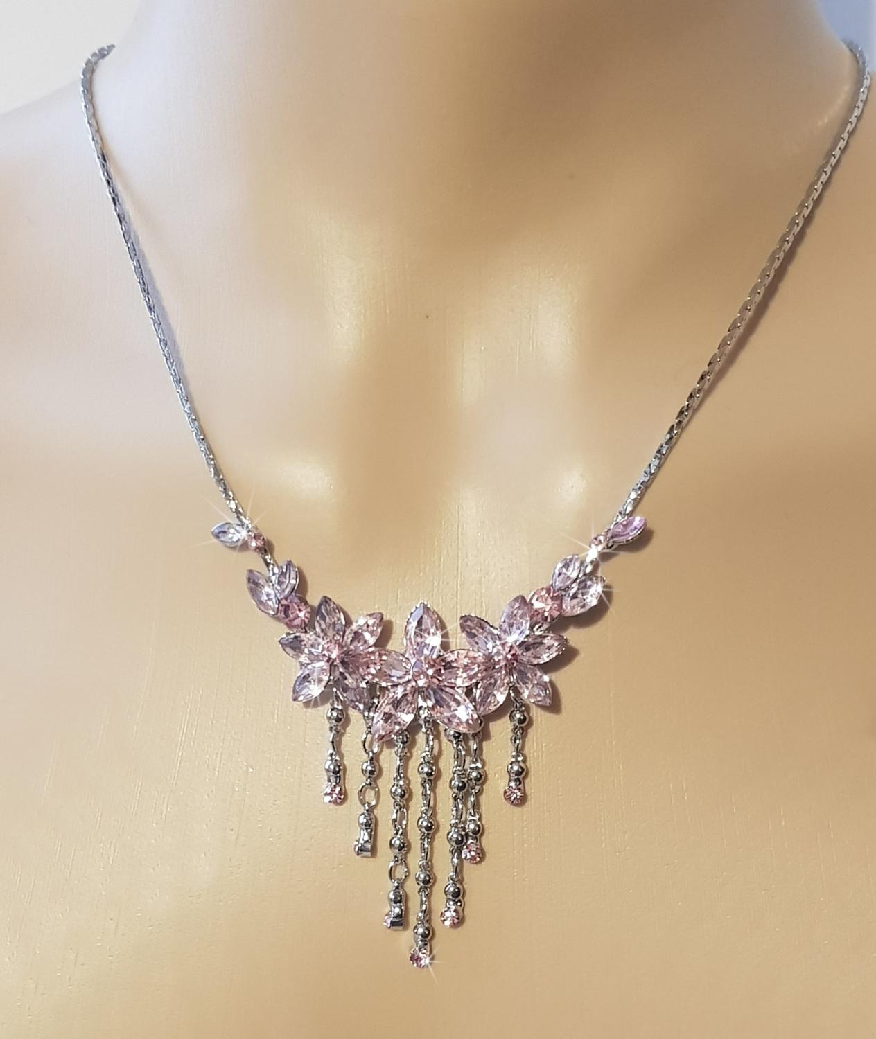 Pink Crystal Flower Dropper Necklace & Earring Set