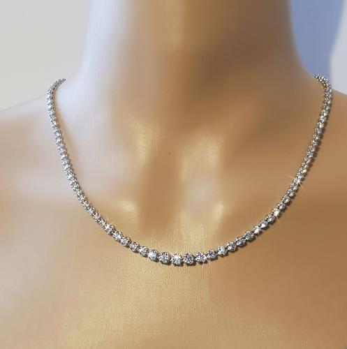 Sterling Silver Cubic Zirconia Graduated Necklace