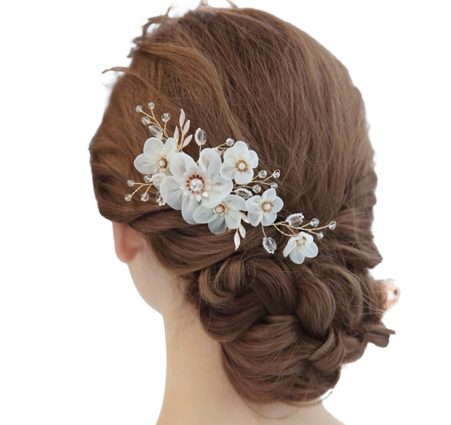 Gold detail & Ribbon Flower Hair Comb