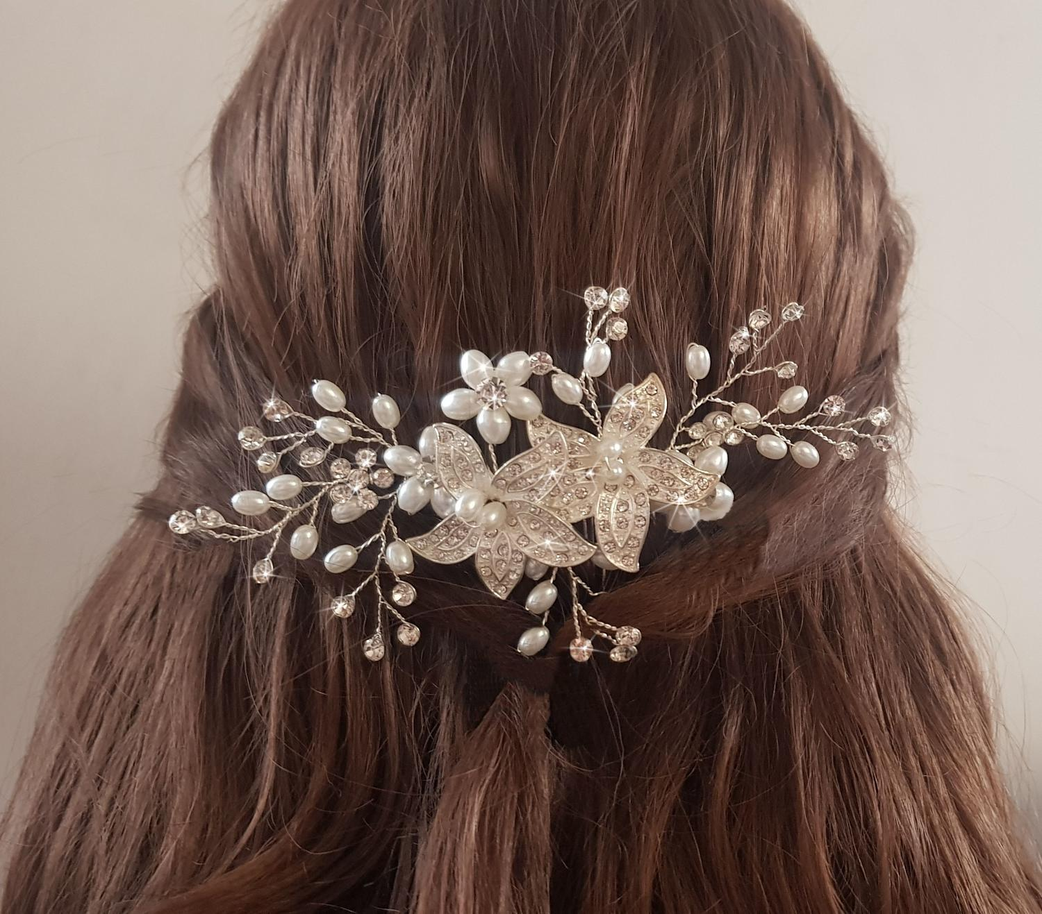 Crystal Flower & Pearl Hair Comb