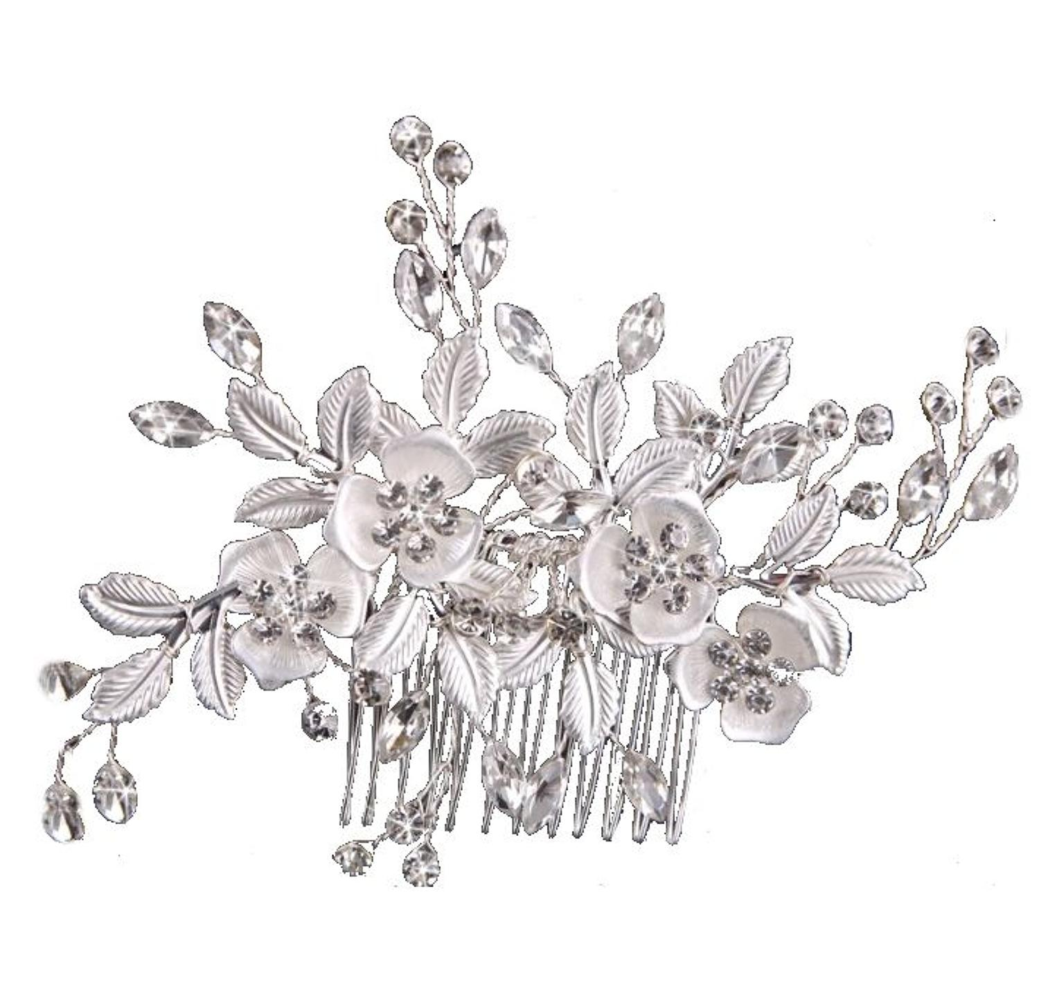 Silver & Crystal Flower Hair Comb