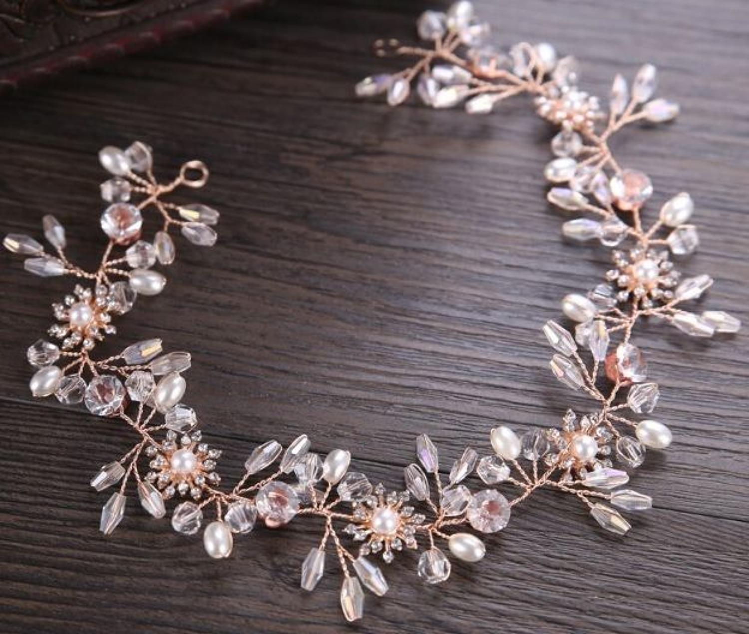 Rose Gold Plated Crystal Flower Hair Vine