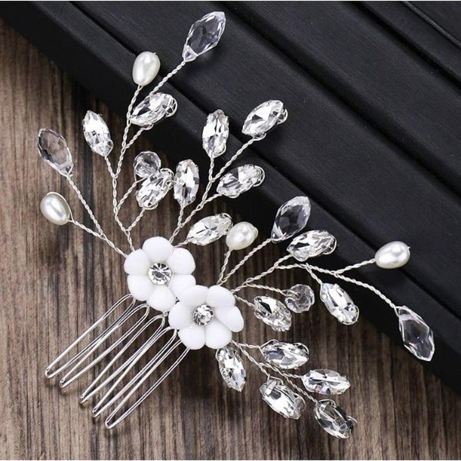 White Double Flower & Crystal Small Hair Comb