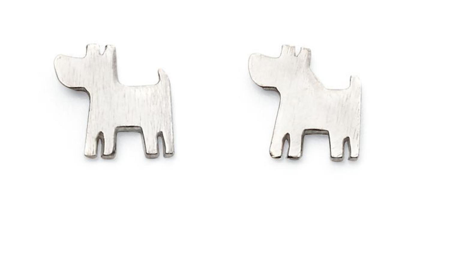 Sterling Silver Dog Stud Earrings