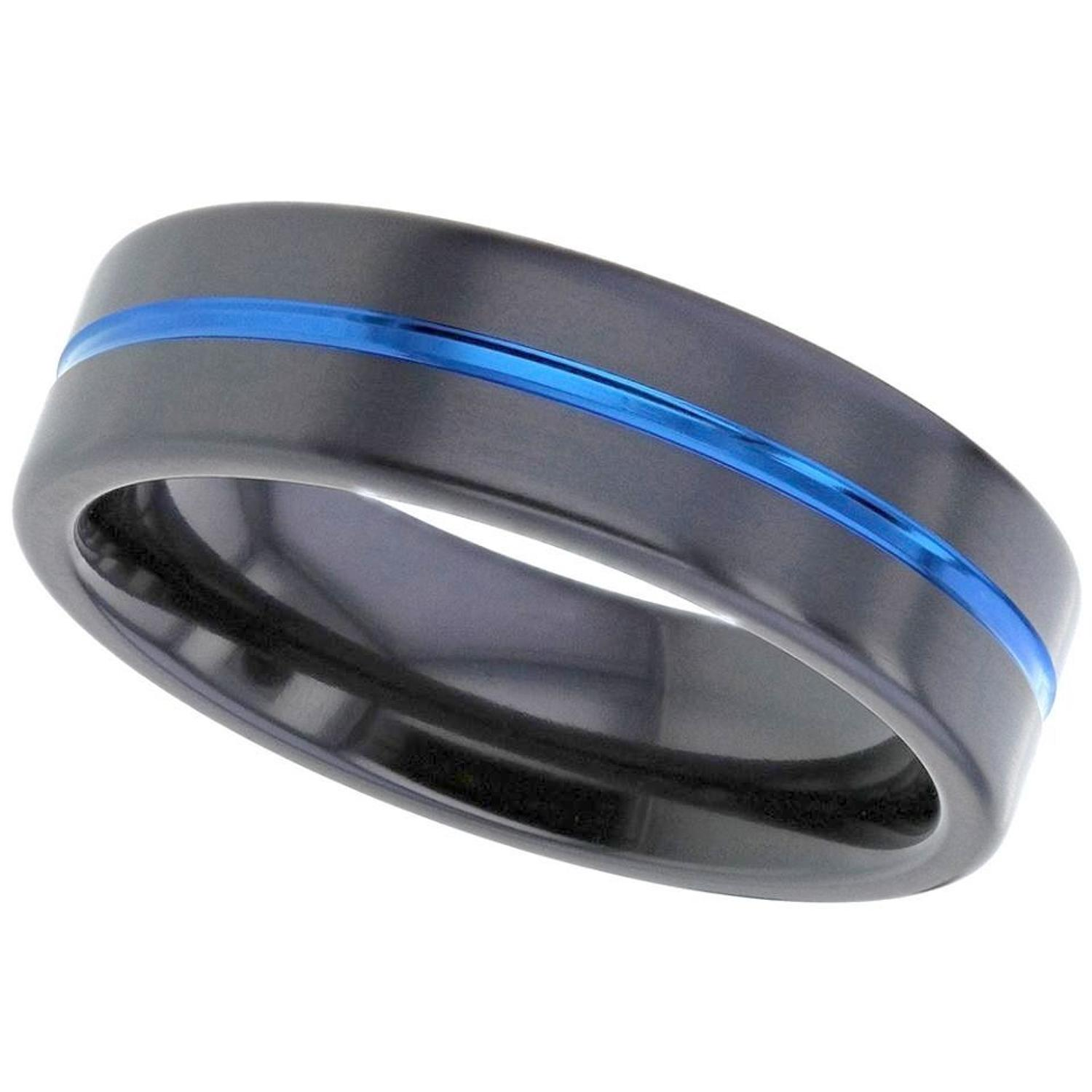 Zirconium Ring, With Blue Groove